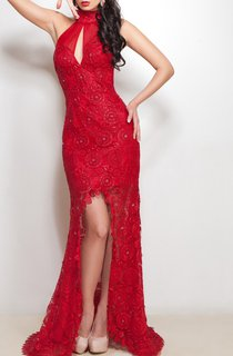 Mermaid Floor-Length Sweep Halter Sleeveless Lace Split Front Beading Straps Dress
