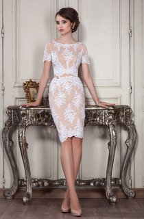 Sheath Knee-Length Jewel Short Sleeve Lace Appliques Zipper Dress
