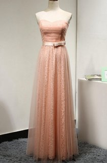Sweetheart A-line Pleated Tulle Floor Length Dress With Lace and Bow