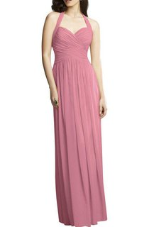 Halter Ruched Long Chiffon Dress with Keyhole Back