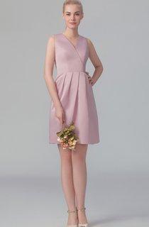 Satin Short Dress With Crisscross Bodice V Back And Bowknot