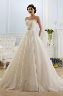 A-Line Long Strapless Sleeveless Backless Lace Dress With Waist Jewellery And Pleats