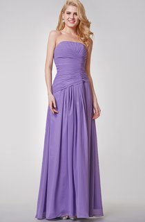 Strapless A-line Long Ruched Chiffon Dress With Pleats