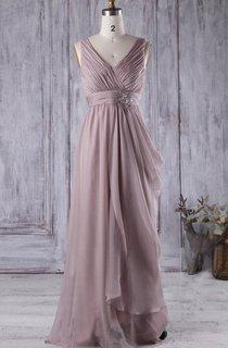 V Neck V Back Draped Empire Chiffon Long Dress With Beading
