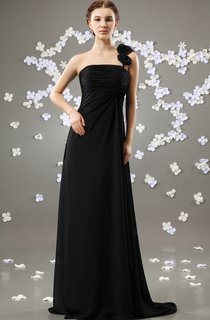 Strapless Floor-Length Dress With Pleating and Brush Train