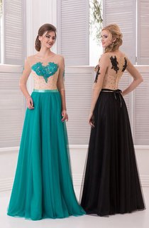 A-Line Anckle-Length Sweep High-Neck Half Sleeve Chiffon Appliques Crystal Detailing Illusion Dress