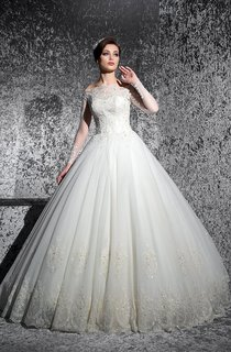 Ball Gown Floor-Length Off-The-Shoulder Long-Sleeve Illusion Lace Dress With Appliques And Beading