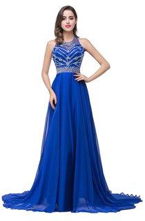 Newest Royal Blue Chiffon 2016 Prom Dress A-line Beadings Sweep Train