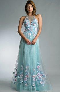 a-line Floor-length Halter Sleeveless Tulle Backless Dress