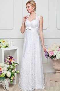 a-line Floor-length Sweetheart Short Sleeve Lace Keyhole Dress