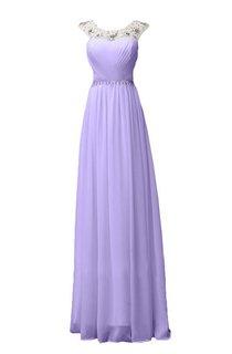 Sleeveless Long Ruffled Chiffon Dress With Beaded Neck