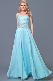 Glam Chic Beaded Sweetheart Layered A-line Chiffon Prom Gown