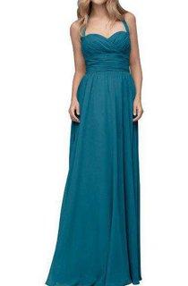 Halter Ruched Floor-length Chiffon Bridesmaid Dress
