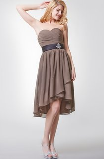 Sweetheart Ruched Tiered Short Chiffon Dress With Beaded Detailing