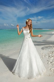 A-Line Long Off-The-Shoulder Short-Sleeve Corset-Back Lace Dress With Bow And Sash