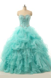 Ball Gown Maxi Sweetheart Beading Zipper Lace-Up Back Lace Organza Dress