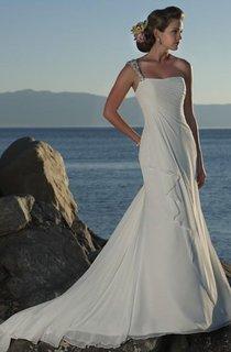 sheath One Shoulder Chiffon Wedding Dress