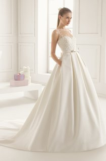 Satin Jewel-Neck Gown With Flower At Back