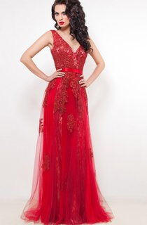 A-Line Floor-Length V-Neck Short Sleeve Tulle Appliques Beading Low-V Back Dress