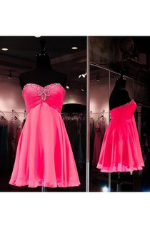 Beading Sweetheart Ruched A-line Knee-length Chiffon Dress