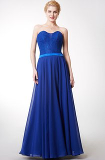 Ambitious Sweetheart Long Chiffon Dress With Lace-top