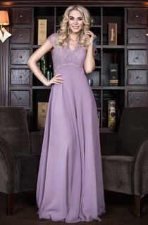 a-line Floor-length V-neck Short Sleeve Chiffon Zipper Dress
