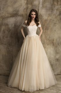 Tulle Off-The-Shoulder A-Line Dress With Lace Bodice