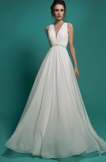 A-Line Floor-Length V-Neck Sleeveless Empire Illusion Chiffon Dress With Beading And Ruching