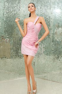 Taffeta Ruching Pencil Dress With Beaded Strap and Skirt