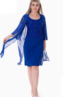 Sheath Knee-Length Scoop 3 Chiffon Beading Zipper Dress