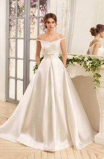 A-Line Floor-Length Off-The-Shoulder Lace-Up Satin Dress