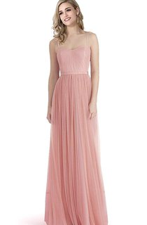 Sleeveless A-line Floor-length Tulle Dress with Spaghetti Straps