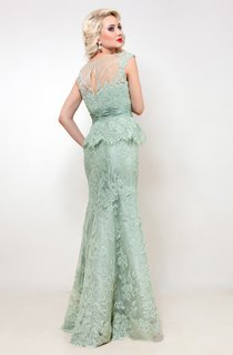 Mermaid Floor-Length Jewel Short Sleeve Lace Ruching Pleats Keyhole Dress