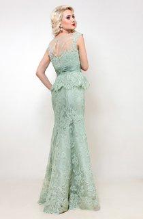 Mermaid Floor-Length Jewel Short Sleeve Lace Ruching Pleats Keyhole Dress
