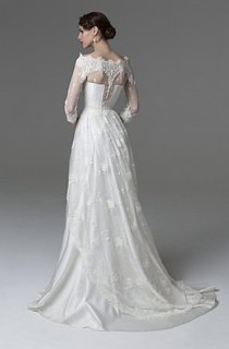 Off-The-Shoulder 3-4 Sleeve A-Line Lace and Satin Dress With Illusion Style