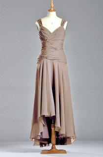 Sleeveless Straps A-line Tea-length Chiffon Dress