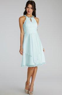 Short Chiffon Dress With Beaded Jewel Neck