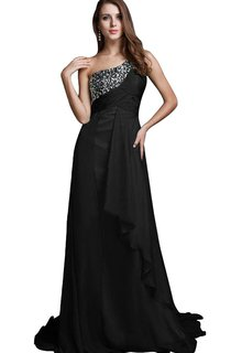 One-shoulder A-line Ruffled Sequined Chiffon Dress