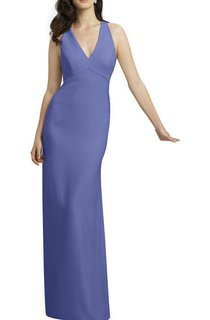 V-neck Sheath Long Dress with Keyhole Back