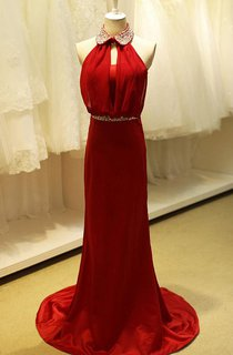 High-neck Sleeveless Sheath Dress with Sequins