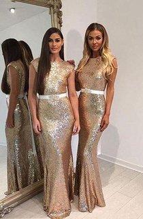 Mermaid Jewel Sleeveless Bell Cap Pleats Brush Train Backless Sequins Dress