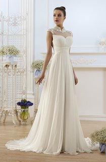A-Line Maxi High-Neck Cap-Sleeve Backless Chiffon Dress With Appliques And Pleats