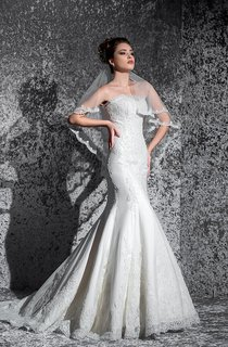 Trumpet Floor-Length Strapless Sleeveless Corset-Back Lace Dress With Appliques And Pleats