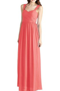 Strapped Floor-length Bridesmaid Dress with Ruching
