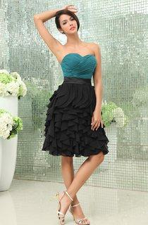 Muti-Color Sweetheart Chiffon Dress With Ruching and Cascading Ruffles