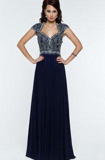 A-Line Floor-Length Sweep Queen Anne Short Sleeve Chiffon Beading Pleats Zipper Dress