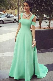 A-line Floor-length Square Backless Satin Dress