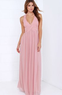 Chiffon A-Line Empire Long Brilliant Halter Dress