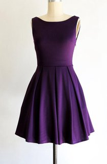 Bateau Sleeveless A-line Pleated Jersey Knee Length Dress With Bow Purple