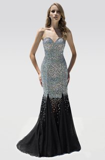 Mermaid Floor-Length Sweetheart Sleeveless Beading Backless Dress